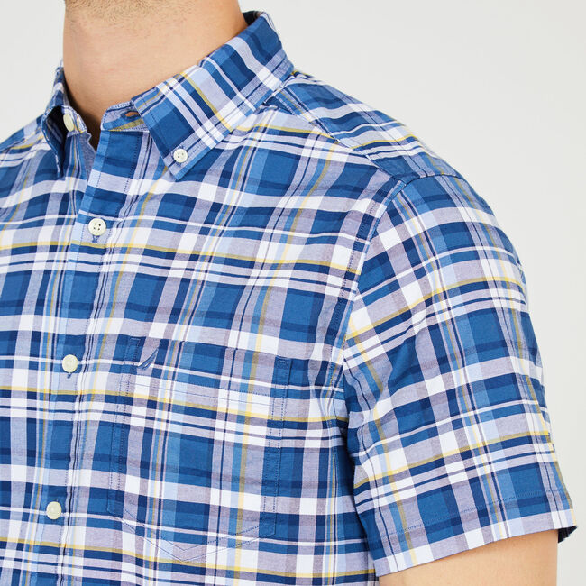 Short Sleeve Plaid Classic Fit Oxford Shirt,Ensign Blue,large