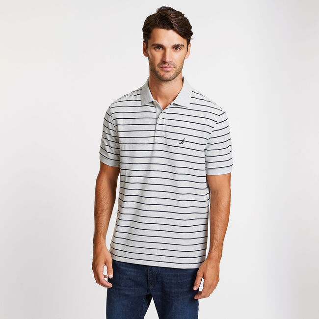 CLASSIC FIT STRIPED DECK POLO,Grey Heather,large