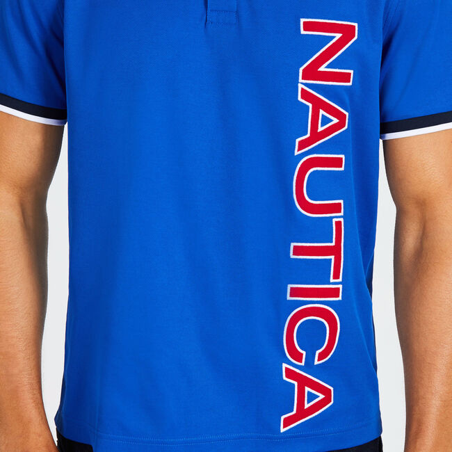 Classic Fit Tech Polo with Vertical Logo,Bright Cobalt,large