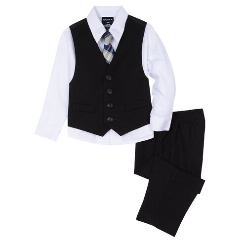 Little Boys' Micro-Check Vest Set (4-7) - White
