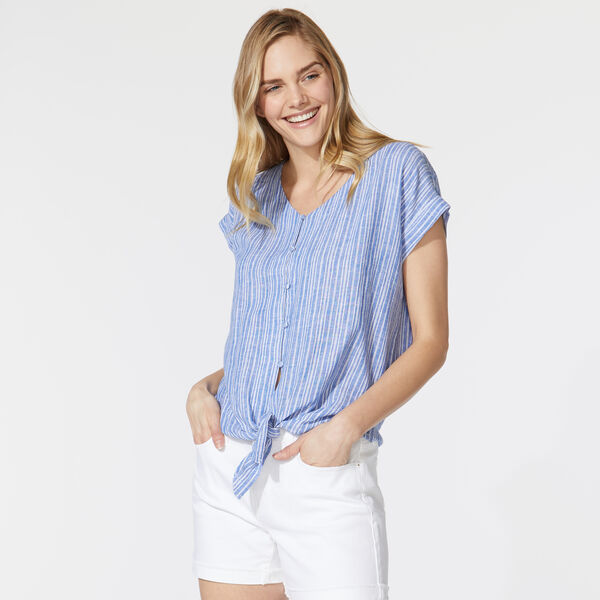 STRIPE TIE FRONT SHIRT - Reef Blue