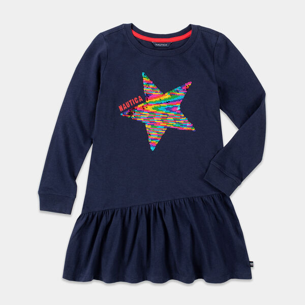 GIRLS' SEQUIN STAR DRESS (8-20) - Navy