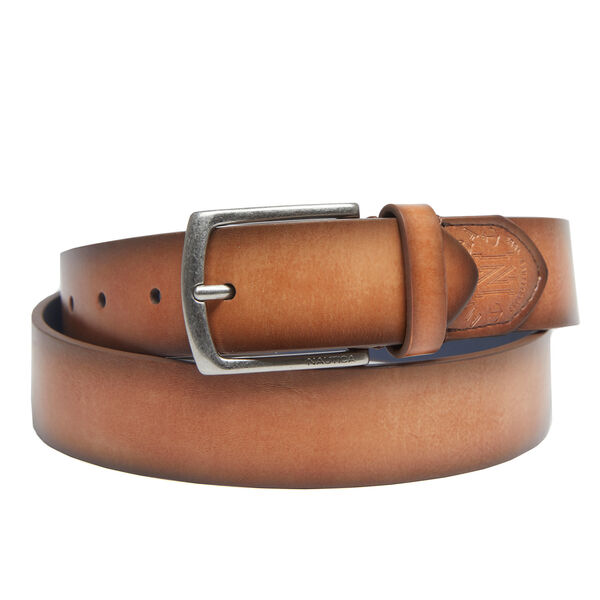 Embossed Tab Casual Belt - Military Tan