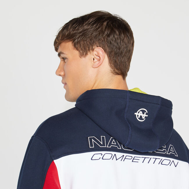 COMPETITION COLORBLOCK GRAPHIC HOODIE,Navy,large
