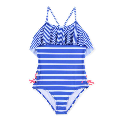 Girls' One-Piece Swimsuit in Mixed Stripe (8-20) - Shore Turq