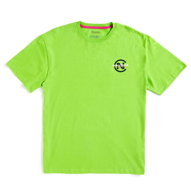 Lil Yachty by Nautica Competition Logo Tee,Lime Surf,large