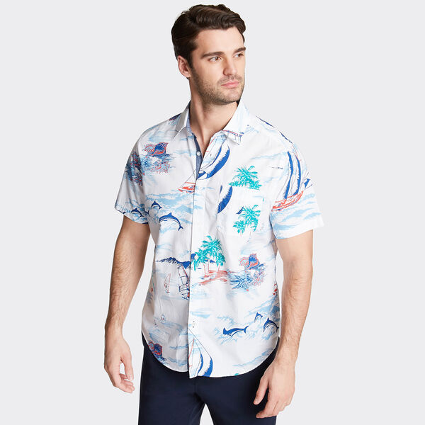 CLASSIC FIT SHORT SLEEVE POPLIN SHIRT IN PRINT - Bright White