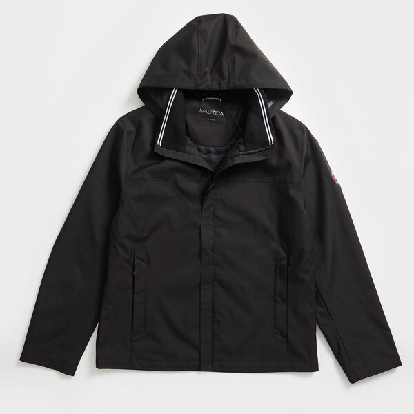 HOODED BOMBER JACKET - True Black