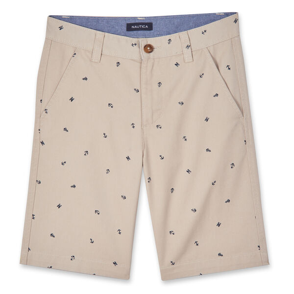 LITTLE BOYS' TATE NAUTICAL PRINTED SHORTS (4-7) - Dark Brown Heather