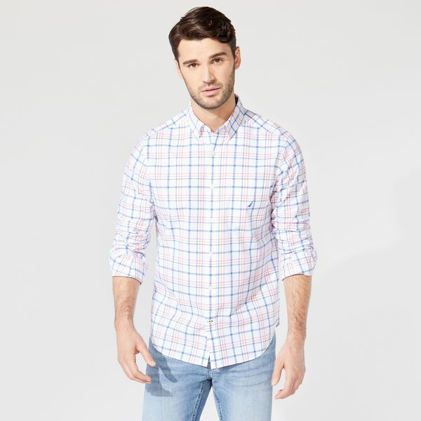 CLASSIC FIT PLAID BUTTON-DOWN SHIRT - Bright White