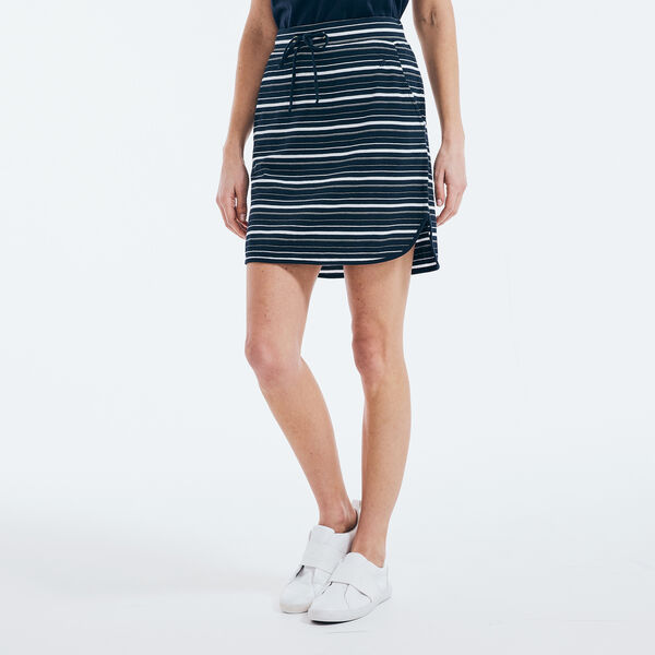 STRIPED KNIT SKIRT - Stellar Blue Heather