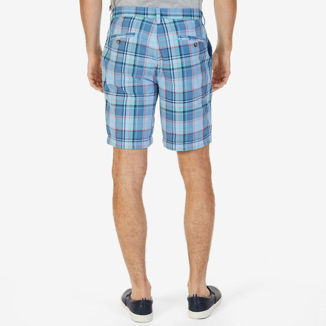 Big & Tall Roadmap Classic Fit Plaid Shorts,Azure Blue,large