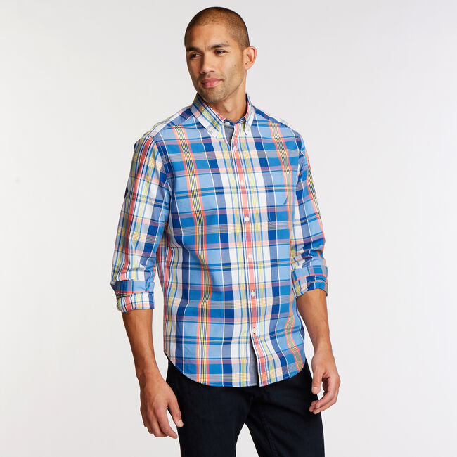 Long Sleeve Classic Fit Shirt,Clear Sky Blue,large