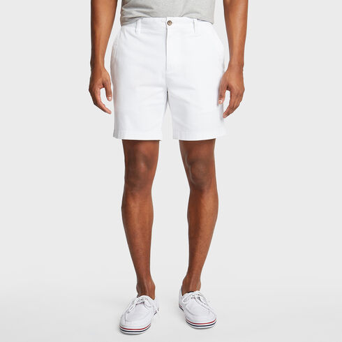 "Classic Fit Twill Deck Shorts - 6"" Inseam - Bright White"