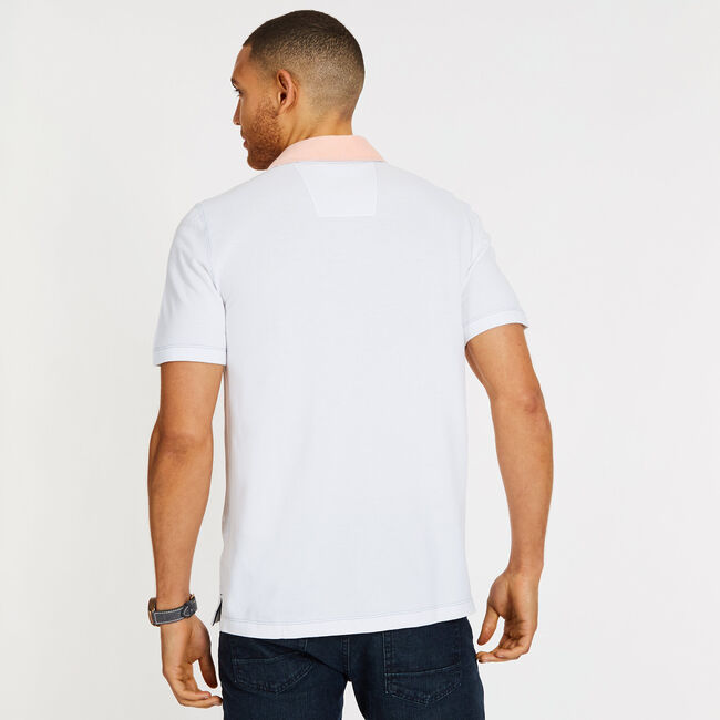 Short Sleeve Colorblock Classic Fit Polo,Bright White,large