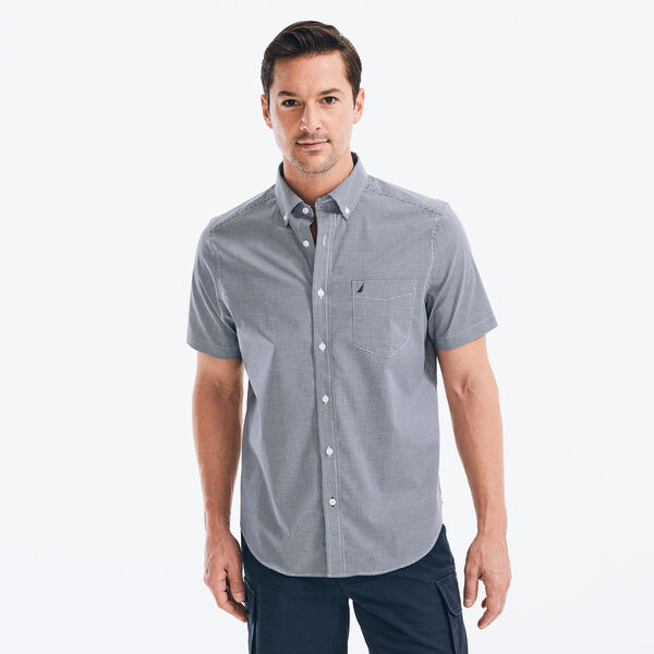 CLASSIC FIT WRINKLE-RESISTANT GINGHAM SHORT SLEEVE SHIRT - J Navy