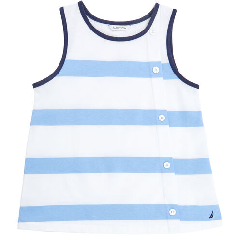 Little Girls' Bold Stripe Tank (2T-7) - Coastline Turq