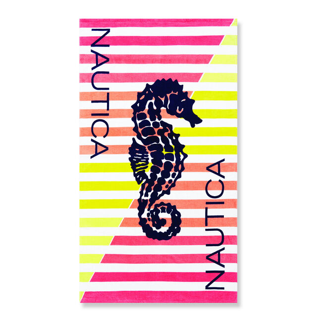 SEAHORSE BEACH TOWEL IN MULTI SHERBERT STRIPE,Multi,large
