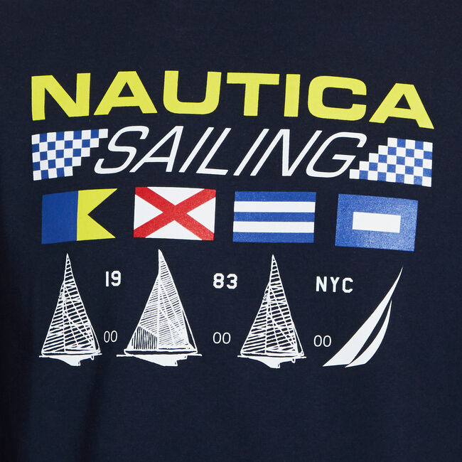 Long Sleeve Sailing Graphic T-Shirt,Navy,large