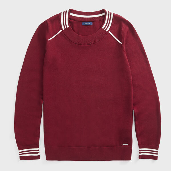 SUSTAINABLY CRAFTED STRIPE TRIM SWEATER - Classic Red