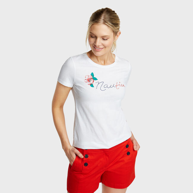 Classic Fit Graphic Tee,Bright White,large