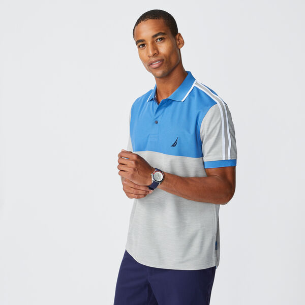 SUSTAINABLY CRAFTED COLORBLOCK POLO - Nite Sea Heather