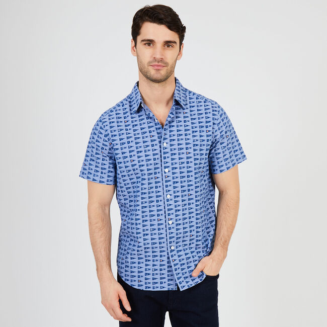 Signal Flag Classic Fit Short Sleeve Button Down,Nite Sea Heather,large
