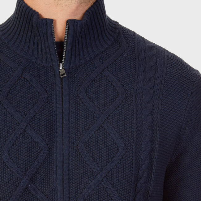 Full-Zip Cable Knit Sweater,True Navy,large