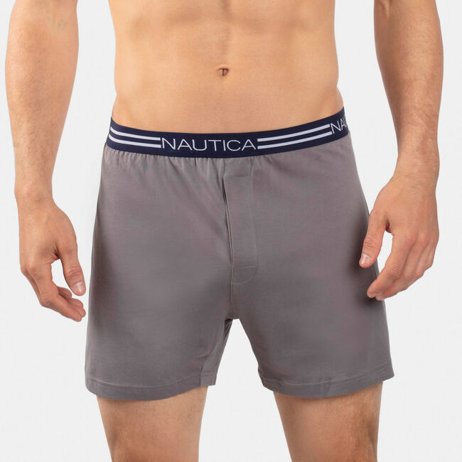 Stretch Solid Knit Boxers,Platinum Grey,large