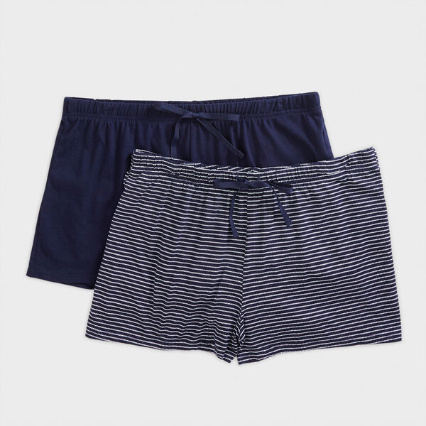 2-PACK STRIPE SLEEP SHORTS - Crystal Bay Blue