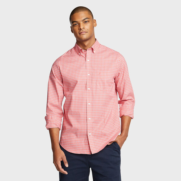 Wrinkle-Resistant Poplin Shirt in Plaid - Spiced Coral