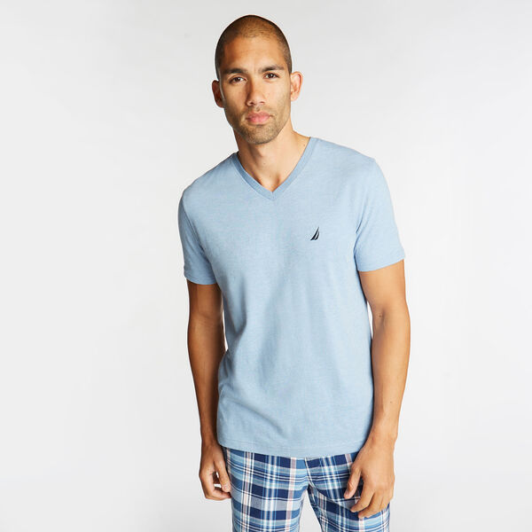 SOLID V-NECK SLIM FIT TEE  - Charcoal Blue Heather