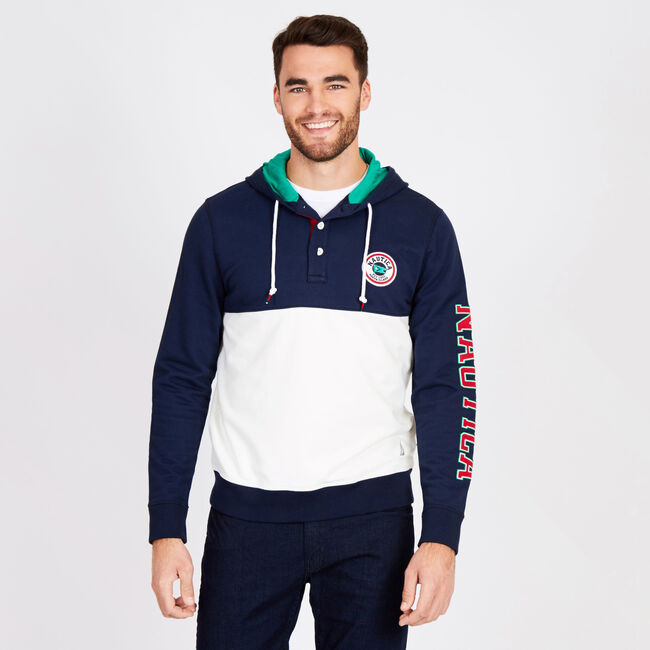 5dc59e918dd39 Big & Tall Colorblock Logo Sleeve French Terry Hoodie,Navy,large