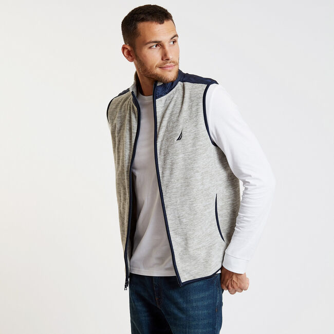 Mock-Neck Colorblock Full-Zip Vest,Grey Heather,large