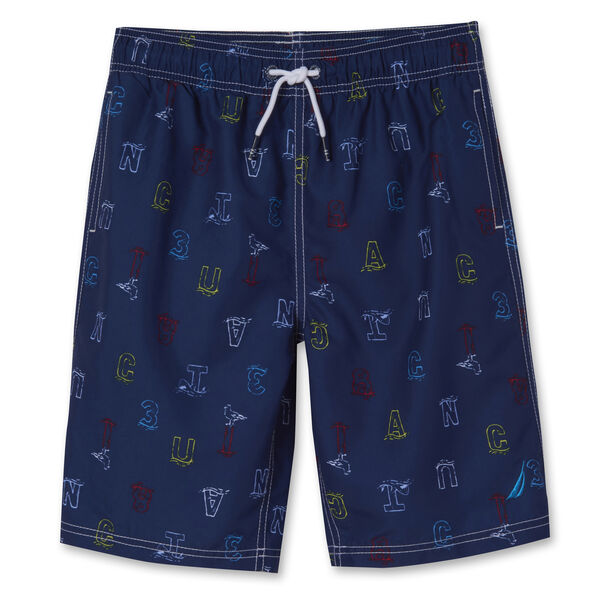 BOYS' PERTH LOGO SWIM TRUNKS (8-20) - J Navy