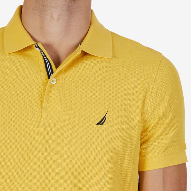 Short Sleeve Slim Fit Performance Tech Polo Shirt,Mustard Field,large
