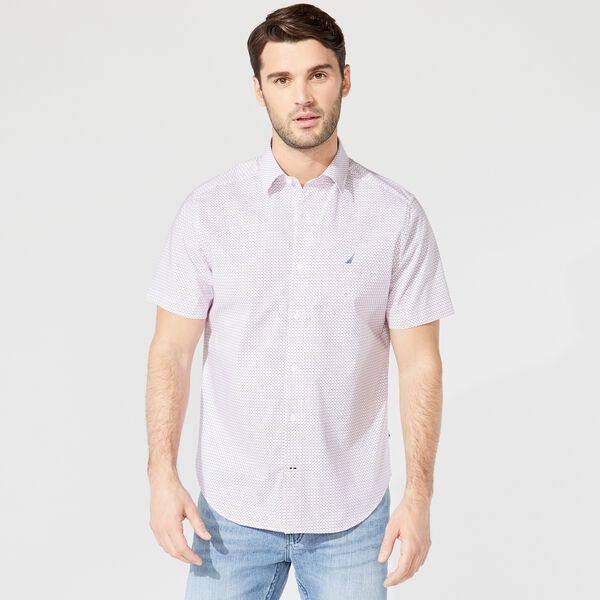 CLASSIC FIT WRINKLE-RESISTANT PRINT SHIRT - Bright White