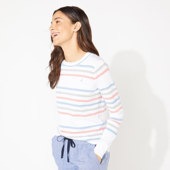 STRIPED KNIT SWEATER,Bright White,large