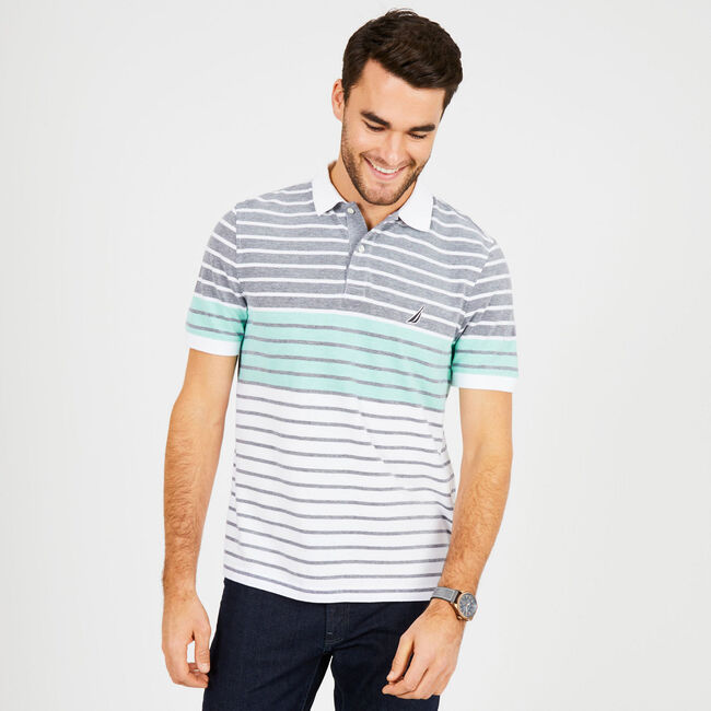 Classic Fit Cotton Polo in Mixed Stripe,Mint Spring,large