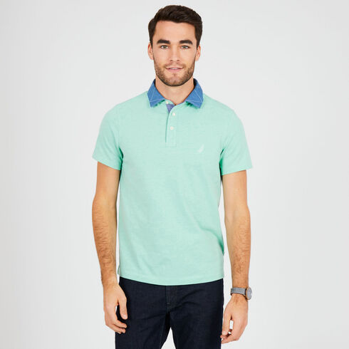 Contrast Collar Short Sleeve Slim Fit Polo - Vibe Green