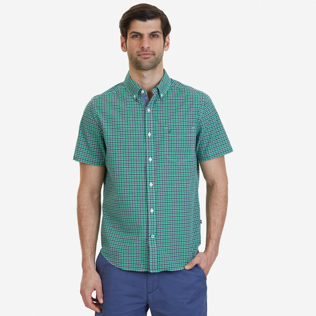 Big & Tall Bright Plaid Short Sleeve Button Down,Light Sonic,large