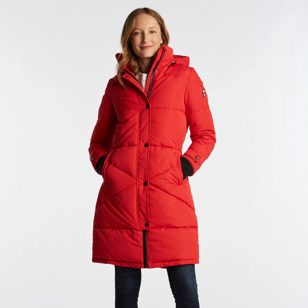 WOMEN'S LONG QUILTED PUFFER COAT - Tomales Red