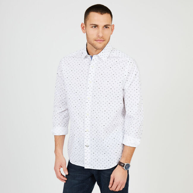 Geographic Classic Fit Long Sleeve Shirt,Bright White,large