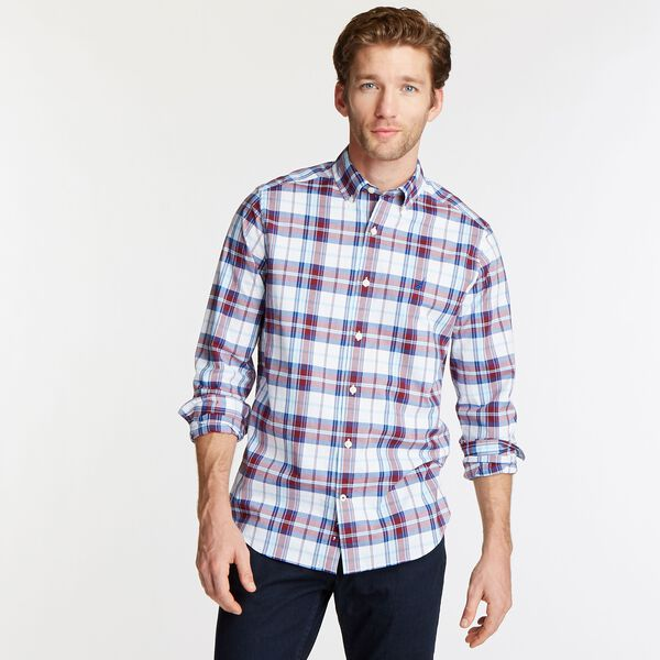 CLASSIC FIT STRETCH POPLIN SHIRT IN ICONIC PLAID - Bright White
