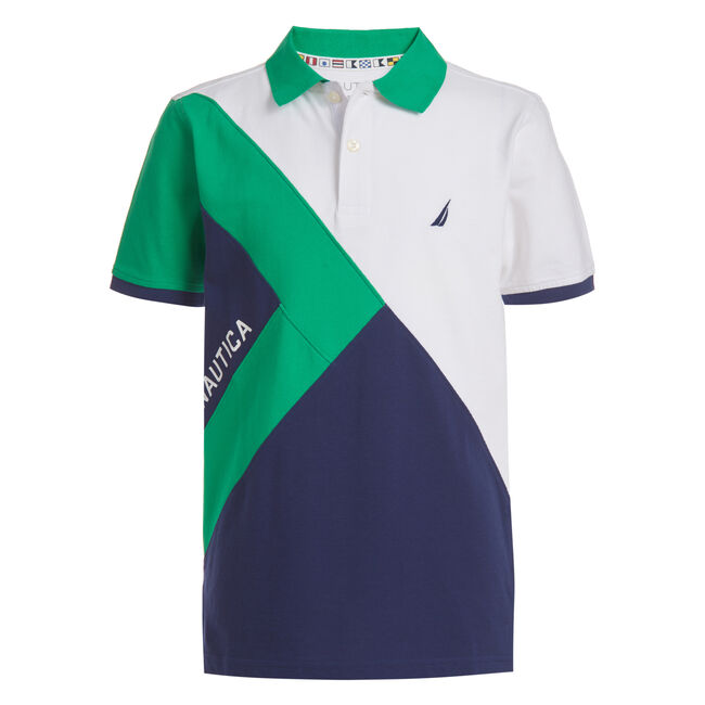 BOYS' SHIPMATE COLORBLOCK HERITAGE POLO (8-20),Kelly Green,large