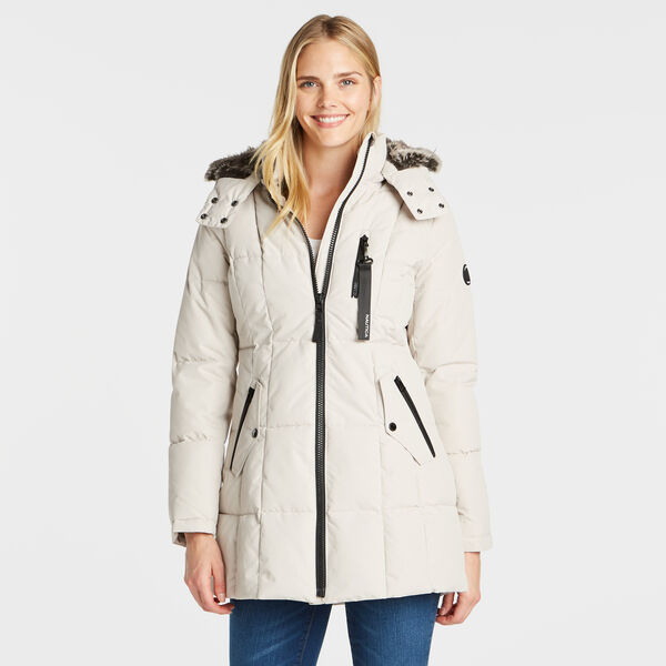 WOMEN'S QUILTED PUFFER COAT - Haze Grey Heather