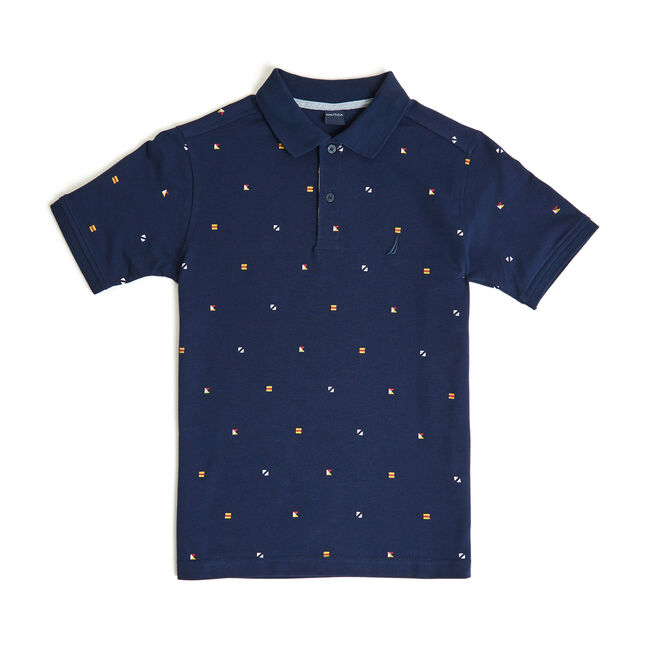 Toddler Boys' Powell Signal Flag Motif Polo (2T-4T),Oyster Bay Blue,large