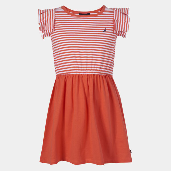 LITTLE GIRLS' STRIPED RUFFLE SLEEVE DRESS (4-7) - Orange Sunset