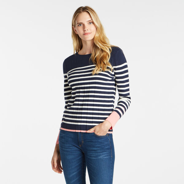 STRIPE COLORBLOCK CREWNECK SWEATER - Stellar Blue Heather