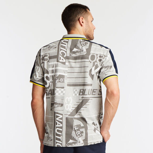 CLASSIC FIT SAILING GRAPHIC POLO,Grey Heather,large